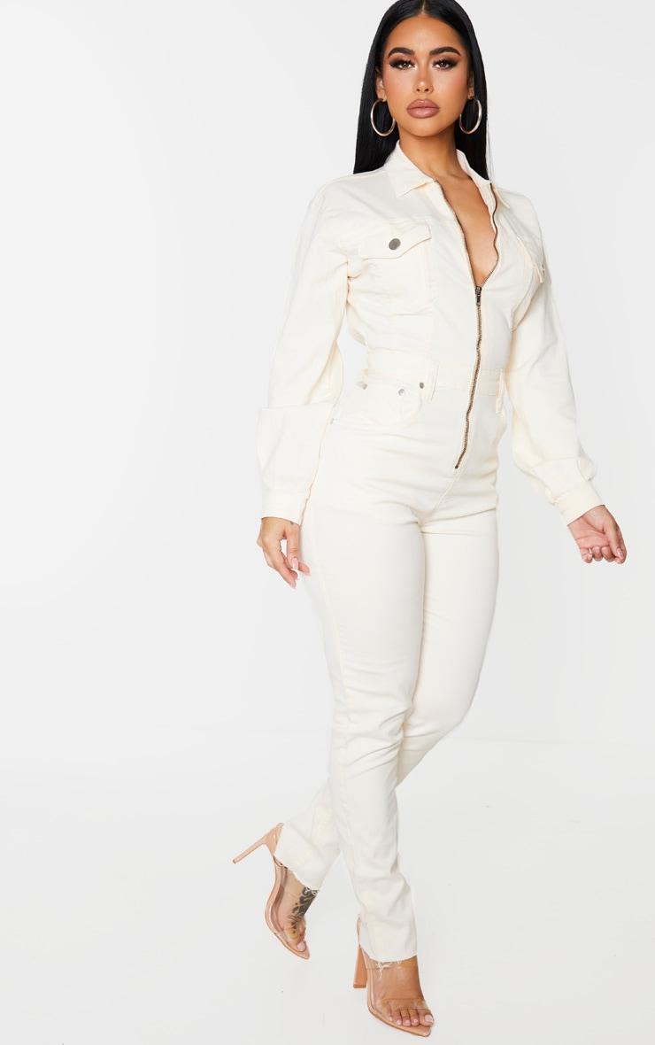 Shape Ecru Denim Zip Front Jumpsuit 3