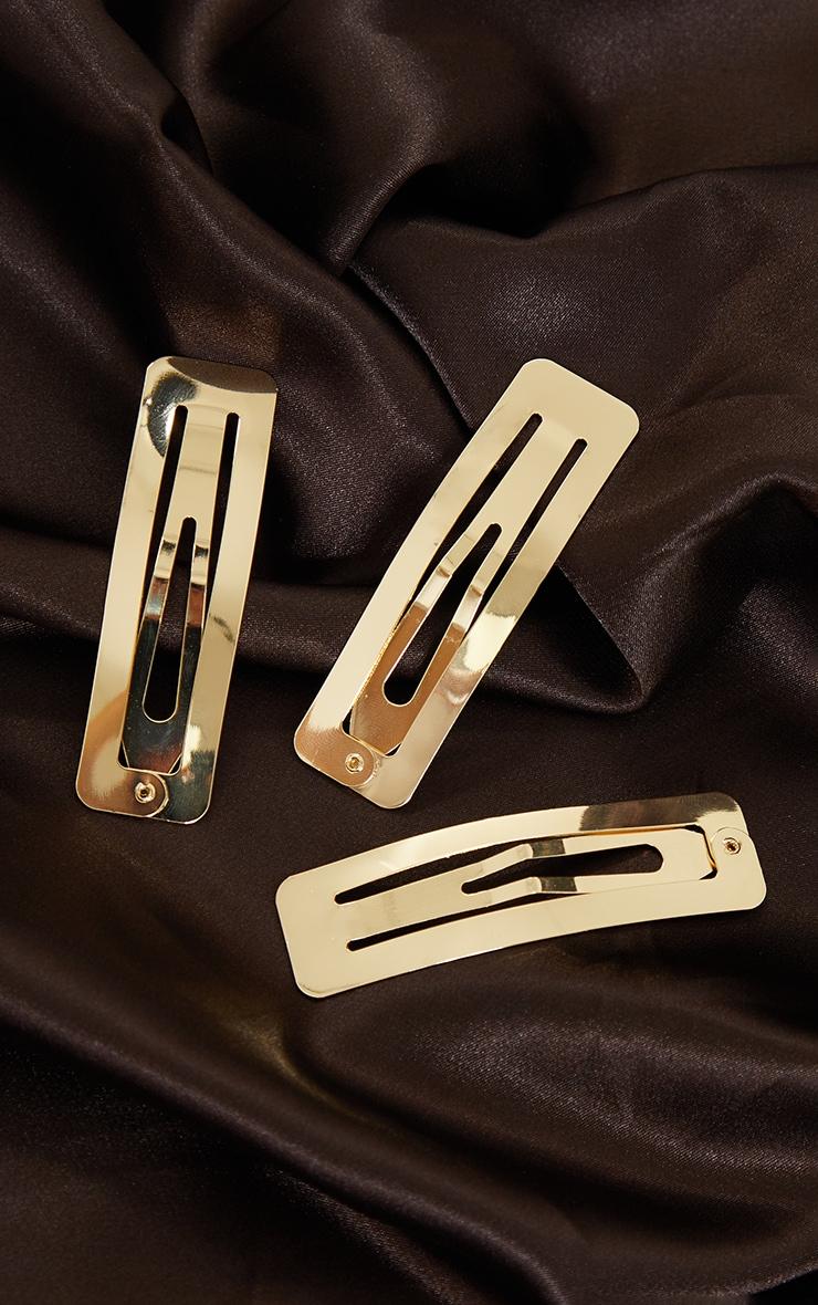 Lot de 3 barrettes dorées carrées 1