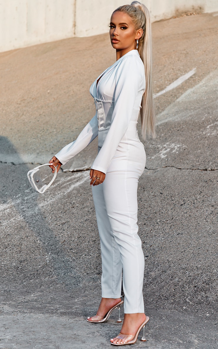 White Corset Waist Tailored Jumpsuit 3