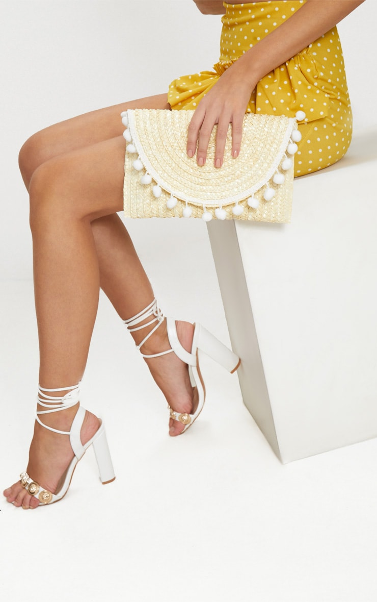 Cream Straw Pom Pom Clutch Bag