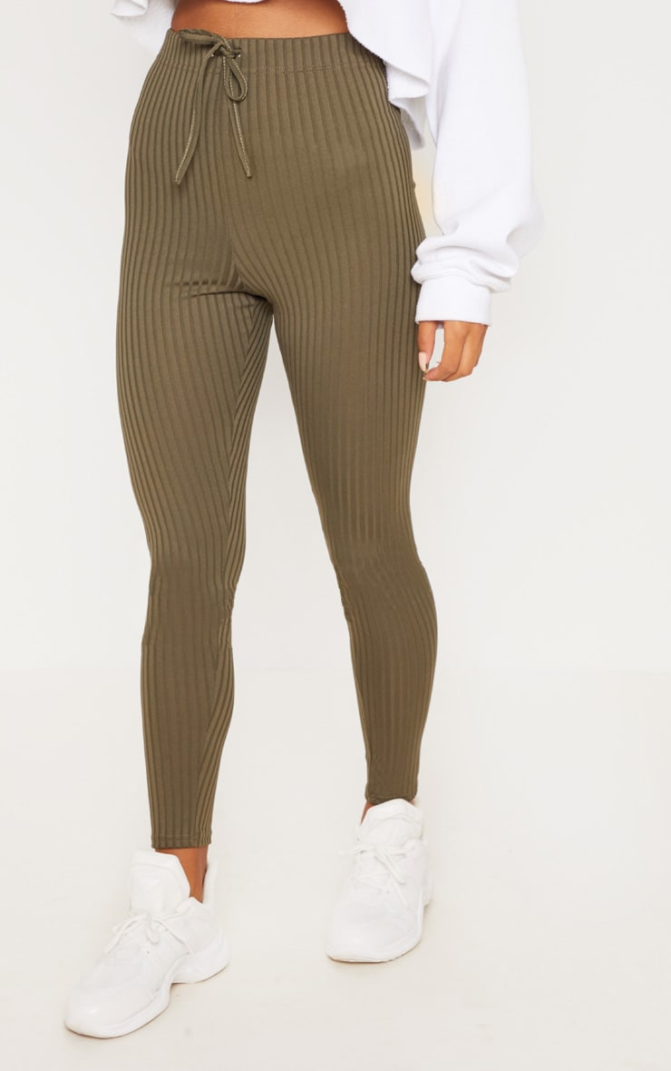 Khaki Ribbed Tie Detail Legging 2