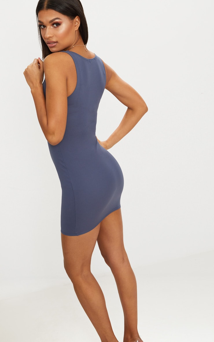 Charcoal Blue V Plunge Bodycon Dress 2