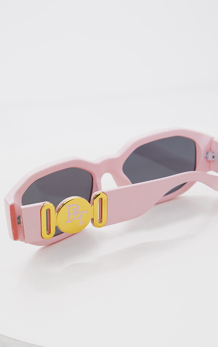 PRETTYLITTLETHING Pink With Gold Side Detail Round Frame Sunglasses 3