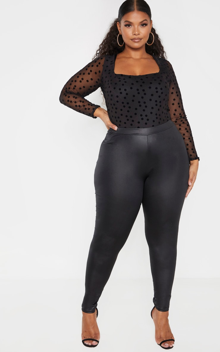 Plus Black PU Fitted Legging  1