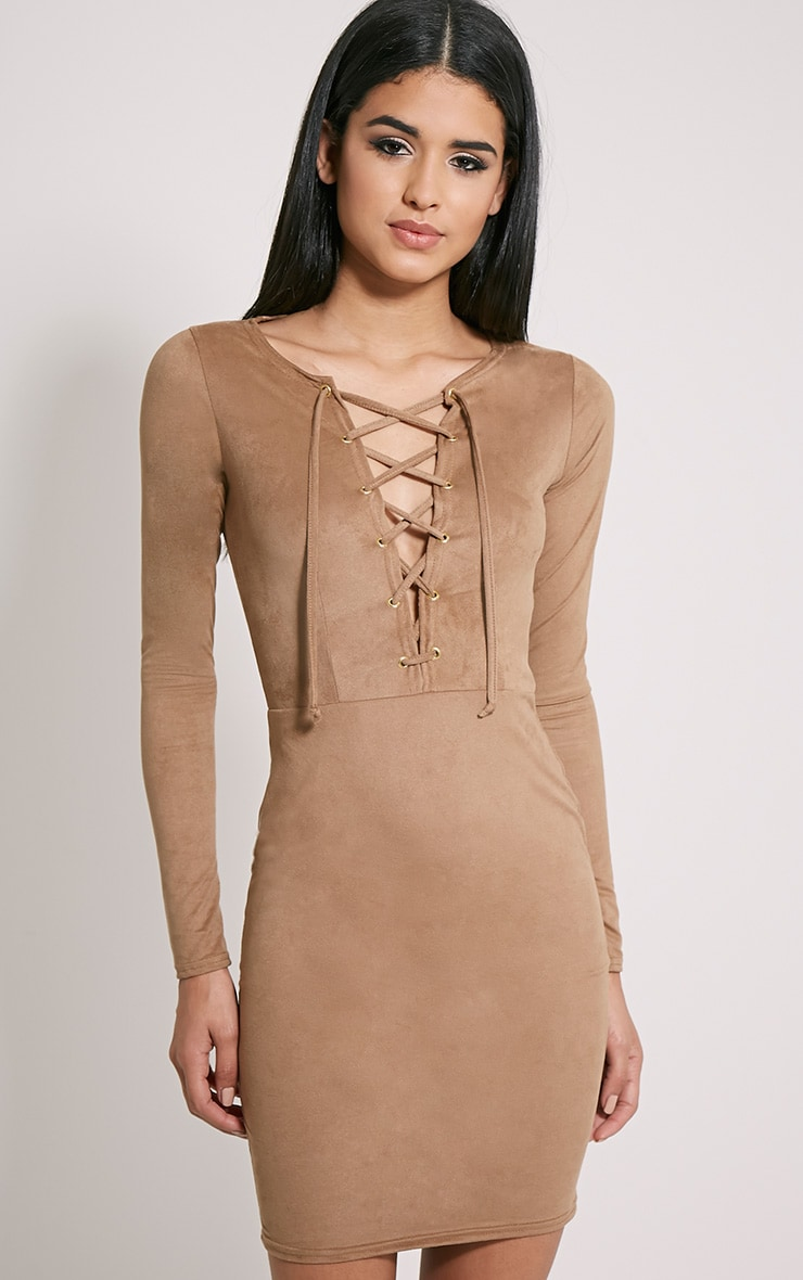 Solita Camel Faux Suede Lace Up Mini Dress 4
