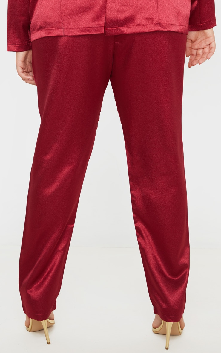 Plus Burgundy Satin Pocket Detail Straight Leg Pants 4