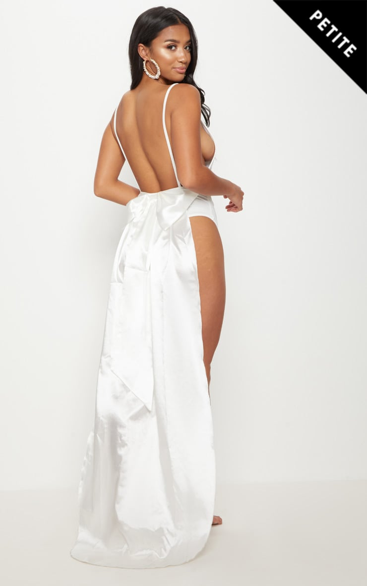 Petite White Bridal Satin Bow Back Swimsuit 1