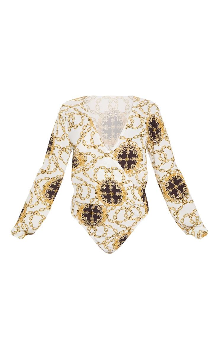 White Chain Print Plunge Wrap Bodysuit 3