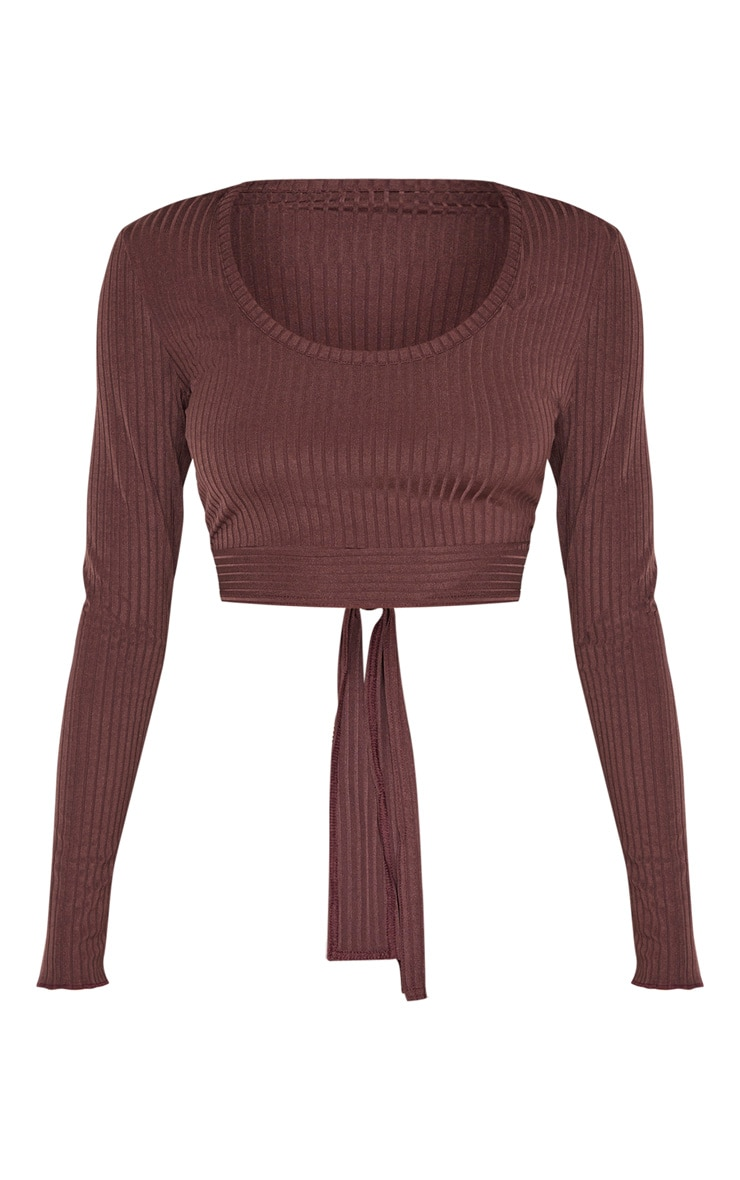 Chocolate Rib Tie Scoop Neck Crop Top 3