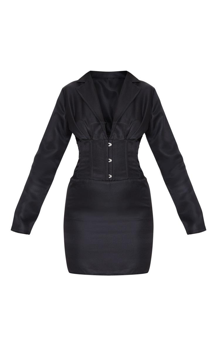 Black Hook & Eye Boned Detail Blazer Dress 3