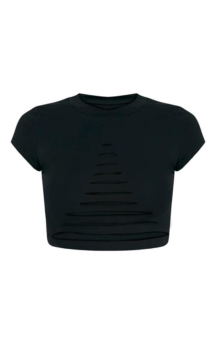 Keya t-shirt court déchiré à manches courtes noir 4