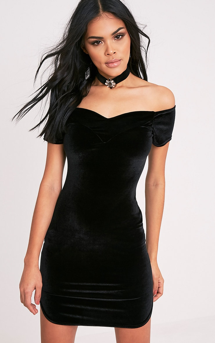 Ailsa Black Velvet Bardot Bodycon Dress 1