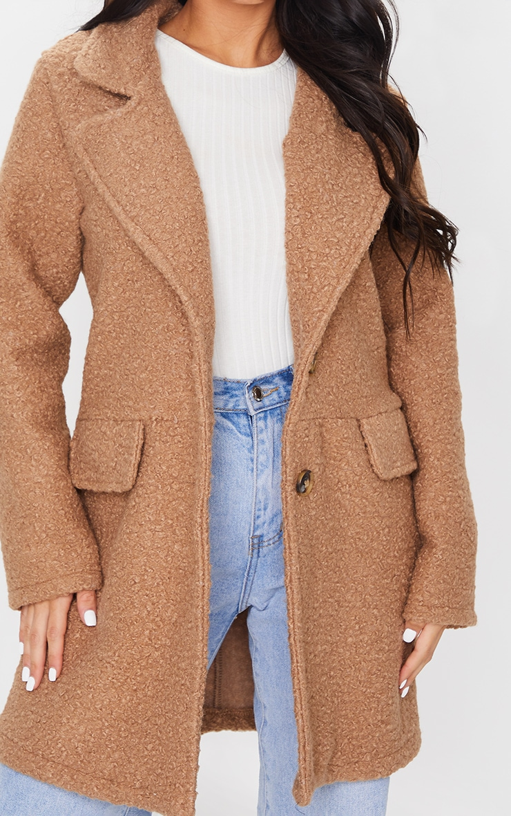 Camel Teddy Button Down Coat 4