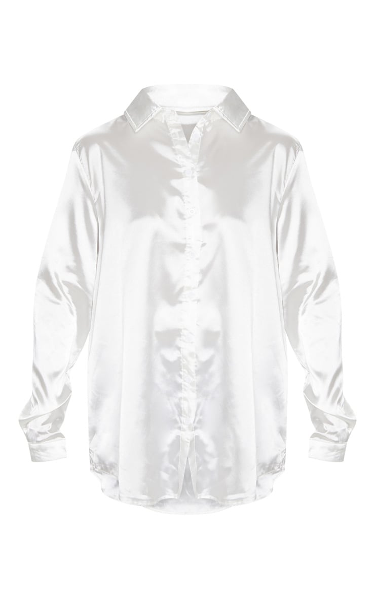 White Satin Button Front Shirt 3
