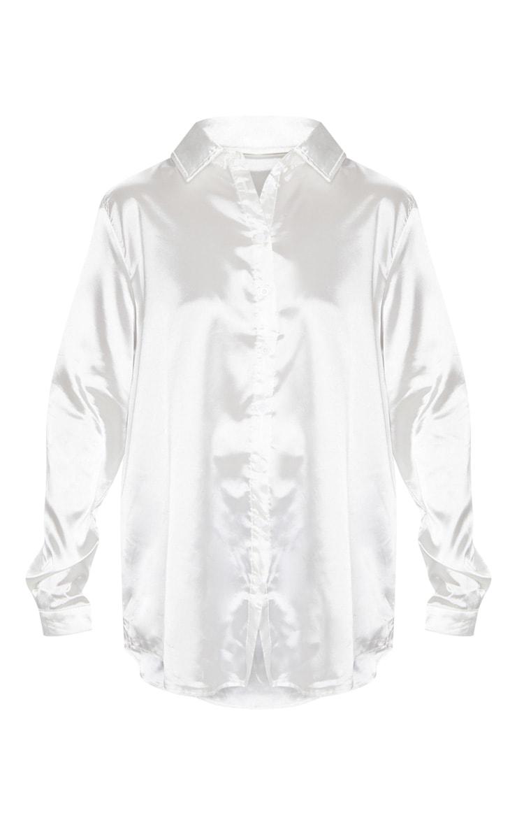Chemise en satin blanche boutons devant 3