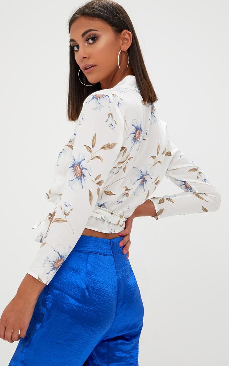 Blanche Cream Floral Print Tie Front Shirt  2