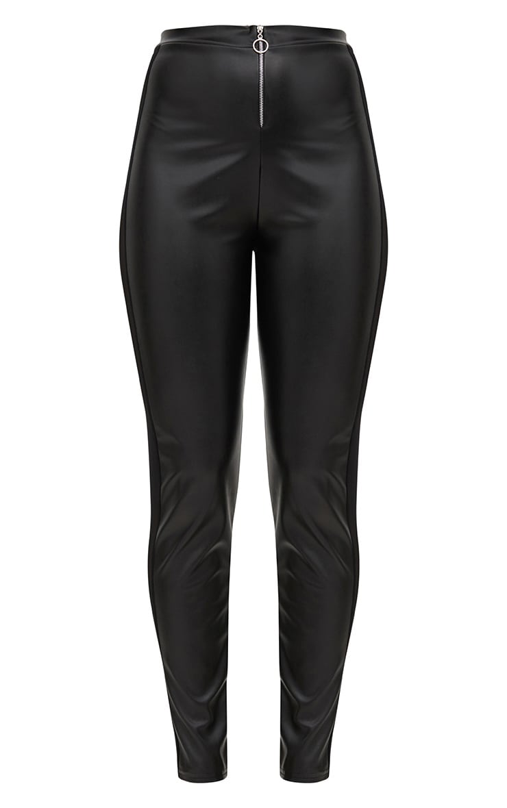 Black Faux Leather Mesh Panel Skinny Trousers 3