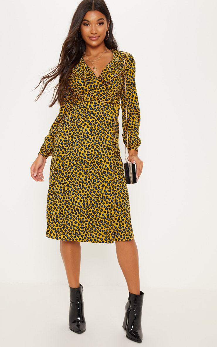 Mustard Leopard Wrap Midi Dress 4