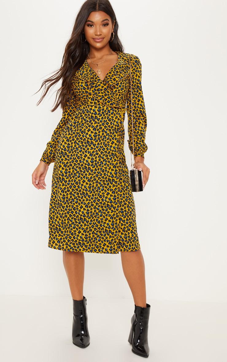 Mustard Leopard Wrap Midi Dress 4