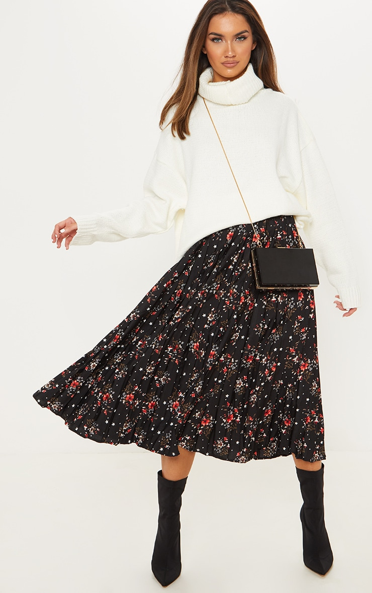 Black Floral Print Pleated Midi Skirt  1