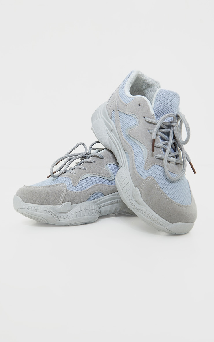 Grey Double Bubble Sole Lace Up Sneakers  4