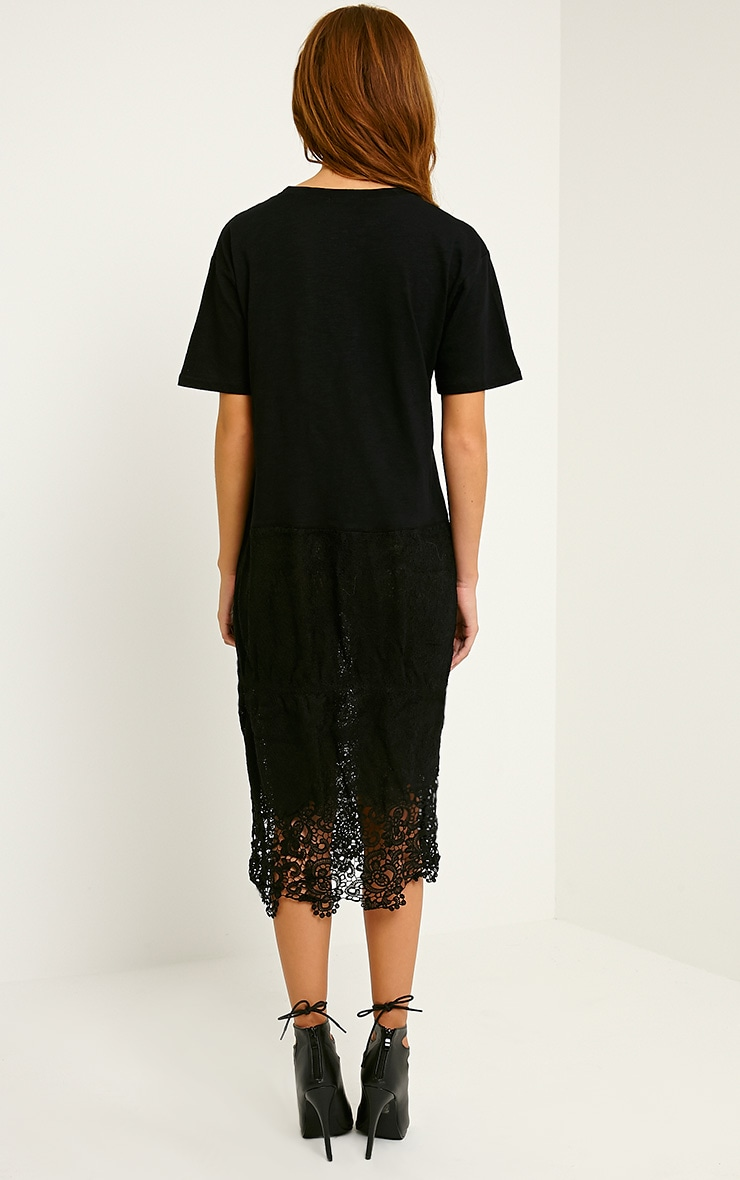 Maia Black Oversized Crochet T-Shirt Dress 2