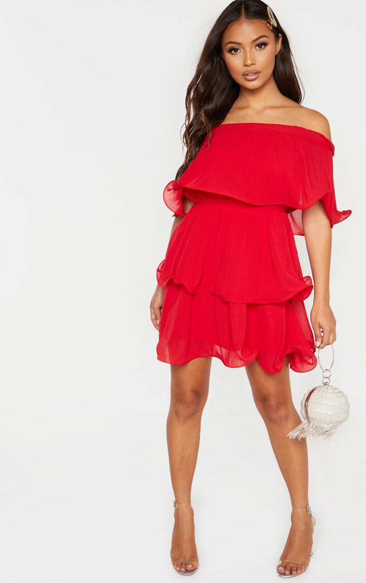 Petite Red Chiffon Bardot Ruffle Tiered Dress 4