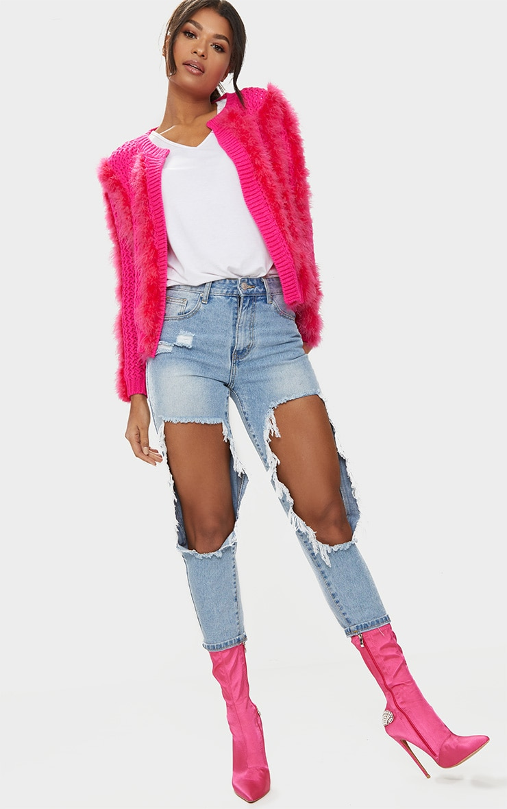 Pink Feather Cardigan 3
