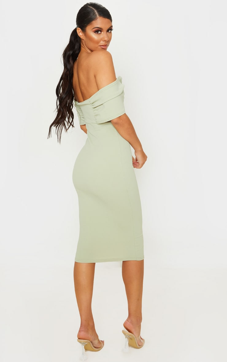 Sage Green V Bar Bardot Midi Dress 2