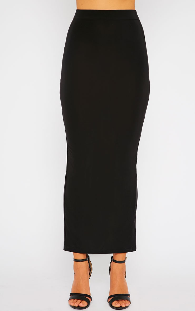 Maizie Black Slinky Split Maxi Skirt 2