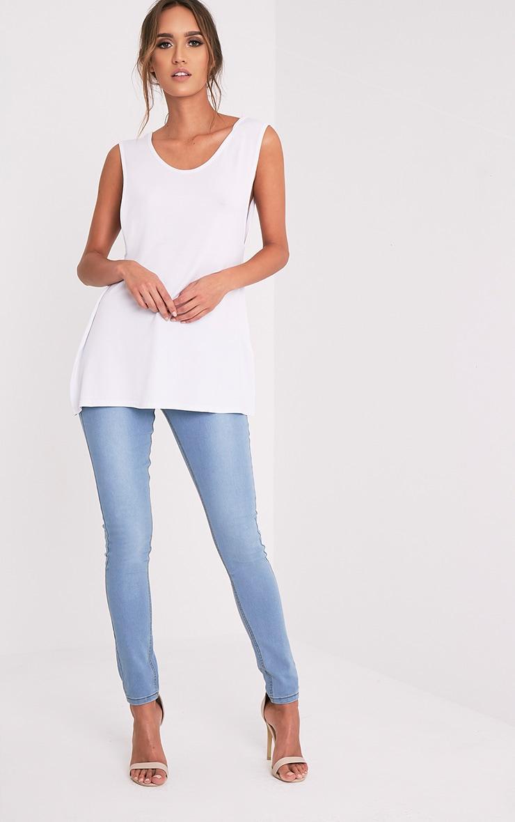 Basic White Jersey V Back Longline Vest 10