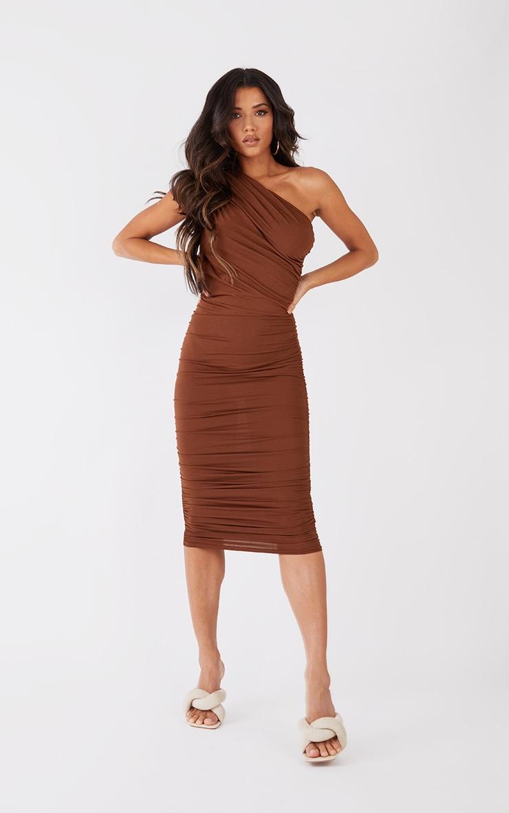 Petite Chocolate Slinky Ruched One Shoulder Longline Midi Dress 1