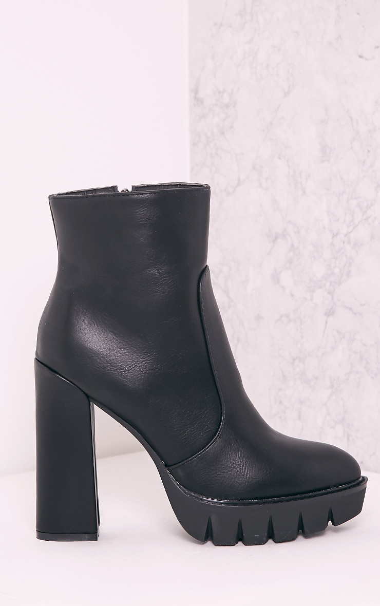 Ciel Black PU Cleated Sole Heeled Ankle Boots 3