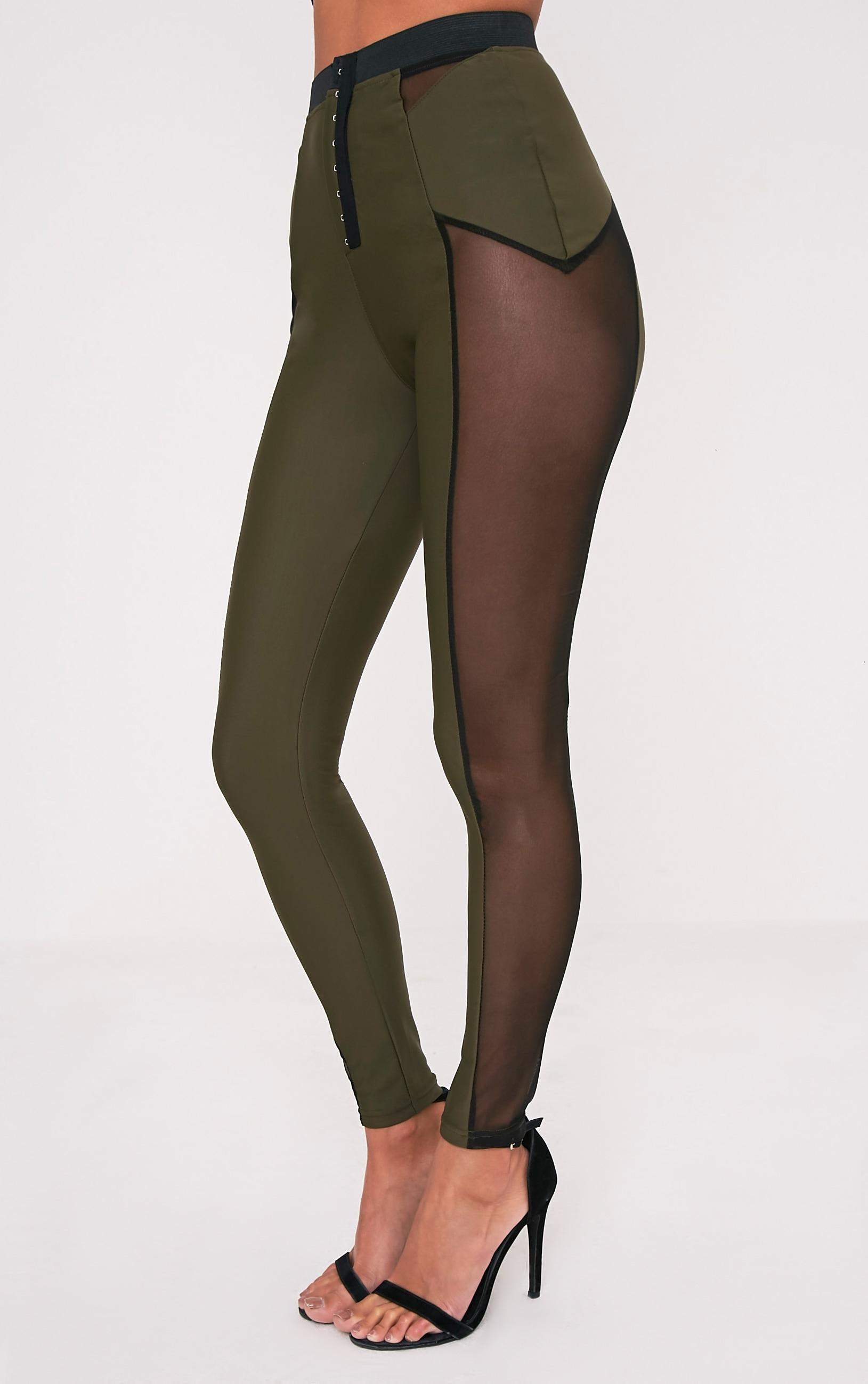Safiya leggings kaki à empiècements transparents à agrafes 4