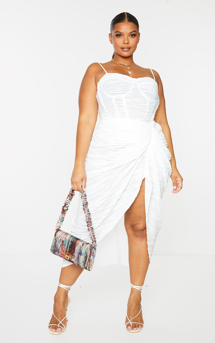 Plus White Textured Ruch Side Midi Skirt  4