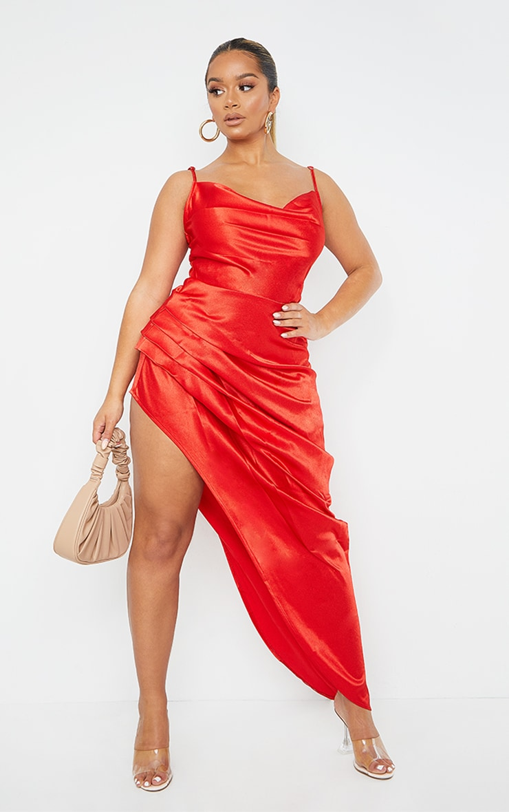 Shape Red Satin Cowl Side Split Ruched Maxi Dress 1