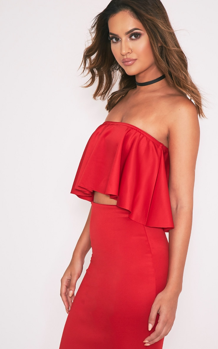 Fillipa Red Scuba Frill Bardot Crop Top 4
