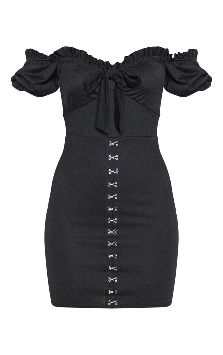 Black Short Sleeve Tie Front Hook And Eye Bodycon Dress 3