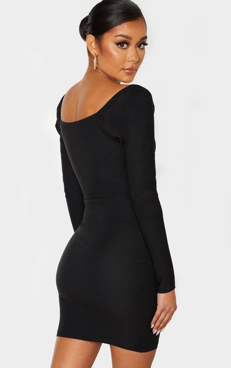 Black V Neck Puff Shoulder Bodycon Dress  2