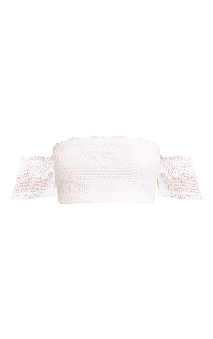 Alisia Cream Lace Bandeau Crop Top 3