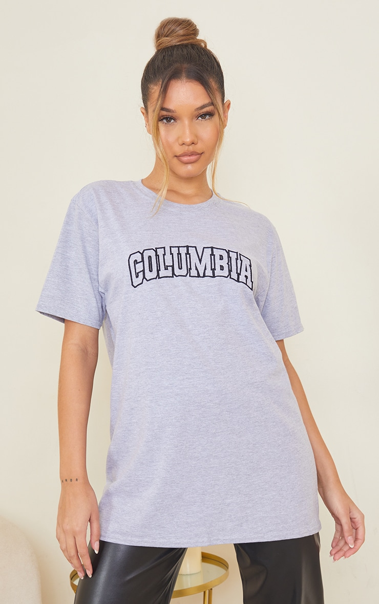 Grey Colombia Slogan Embroidered T Shirt 1