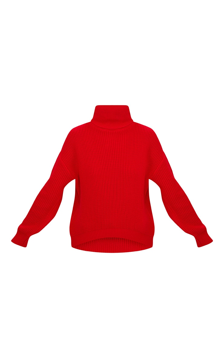 Red Roll Neck Basic Jumper 3