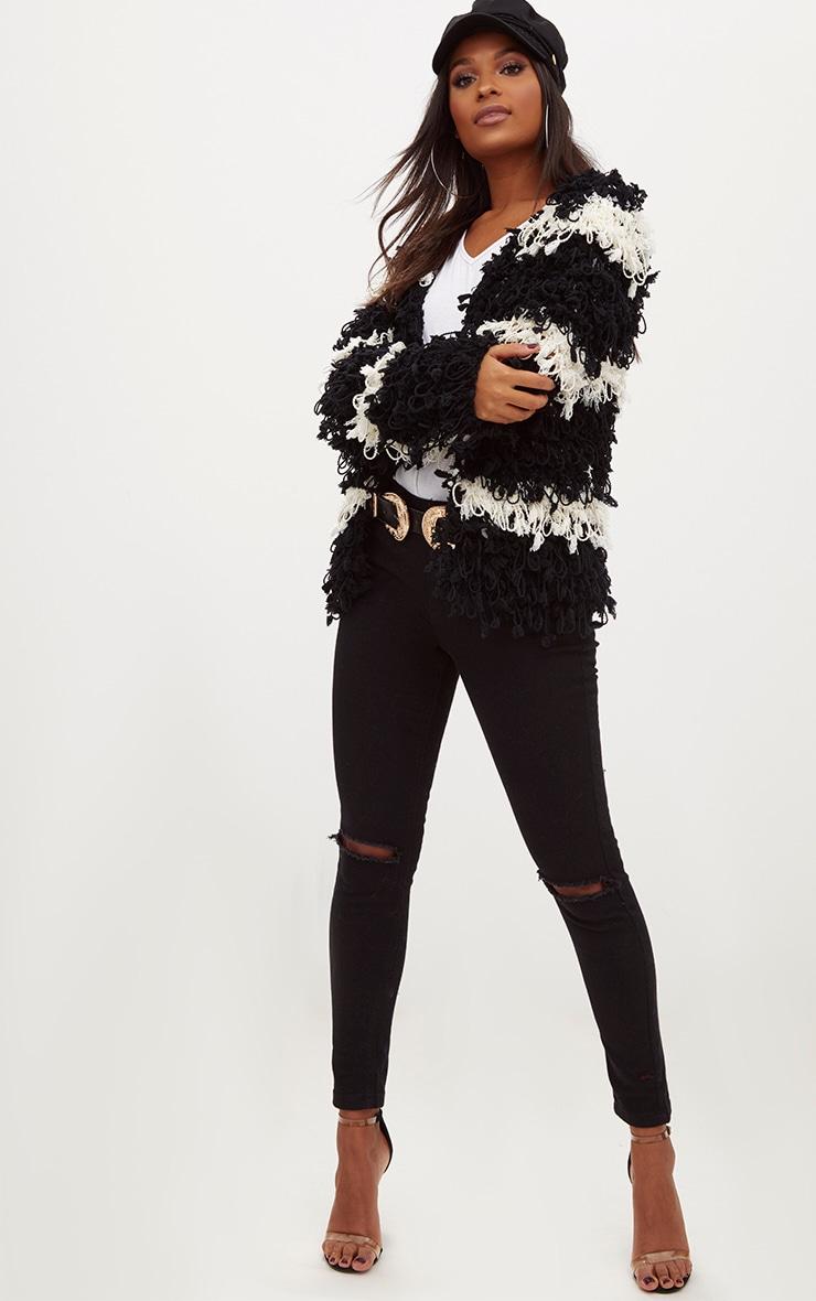 Black Loopy Knit Stripe Cardigan 4