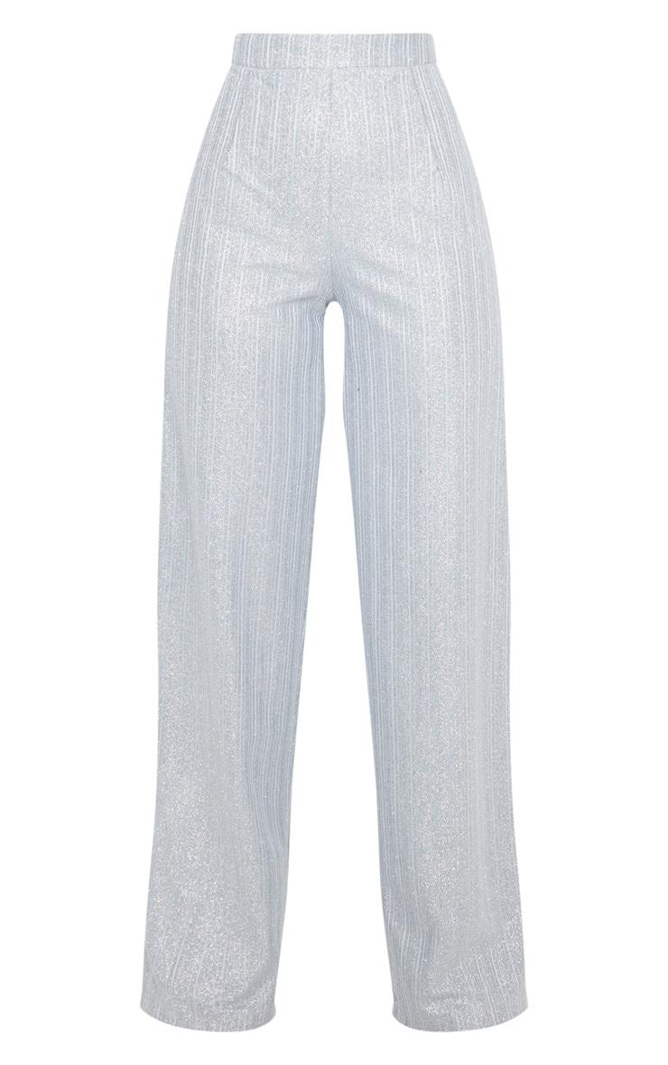 Silver Glitter Wide Leg Pleat Front Trouser 3