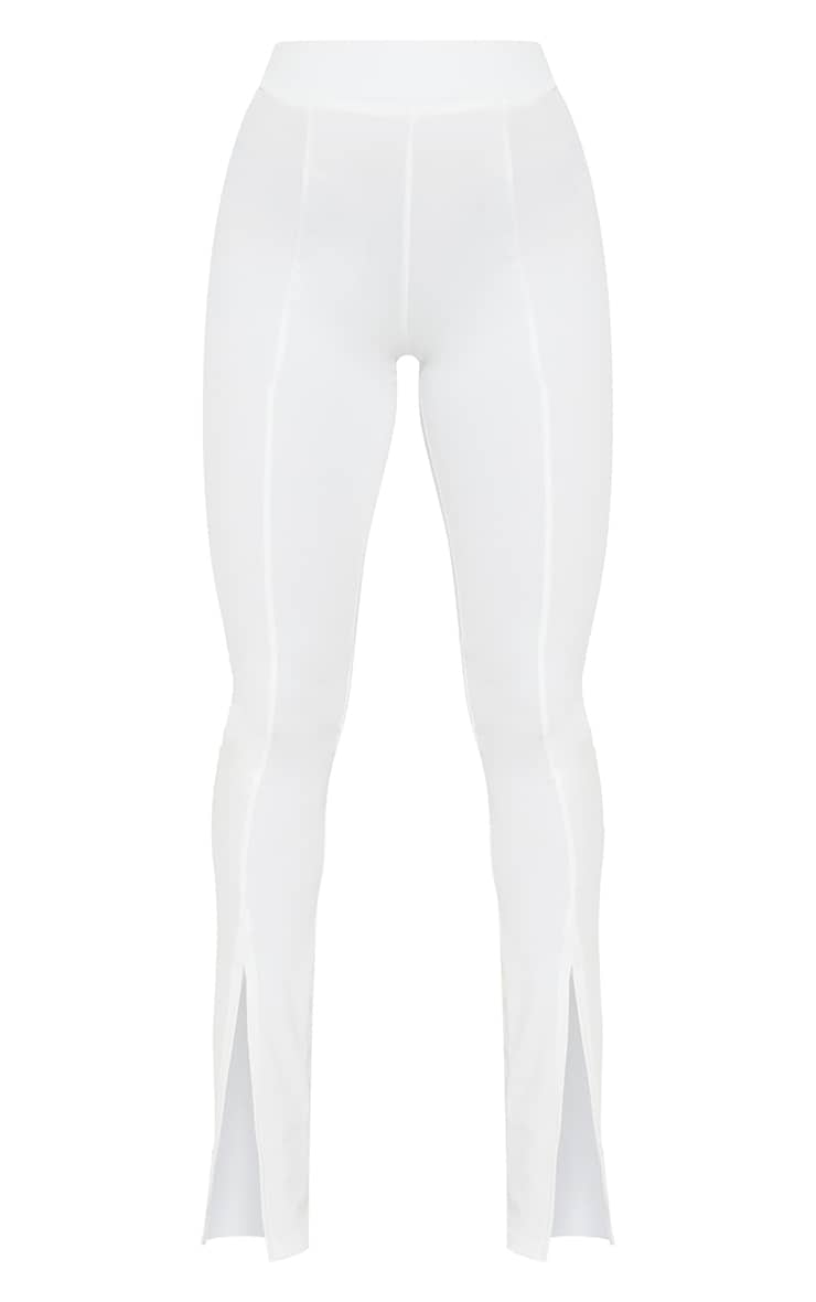 White Stretch Scuba Skinny Split Hem Trousers 5