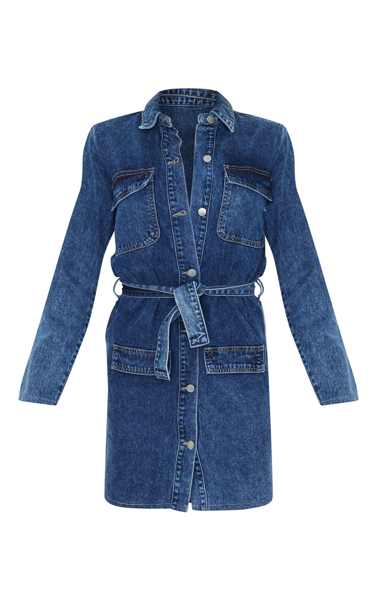 Tall Dark Blue Acid Wash Belted Denim Shirt Dress  3