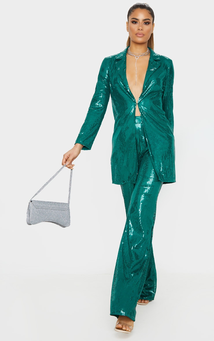Tall Emerald Green Sequin Longline Blazer 4