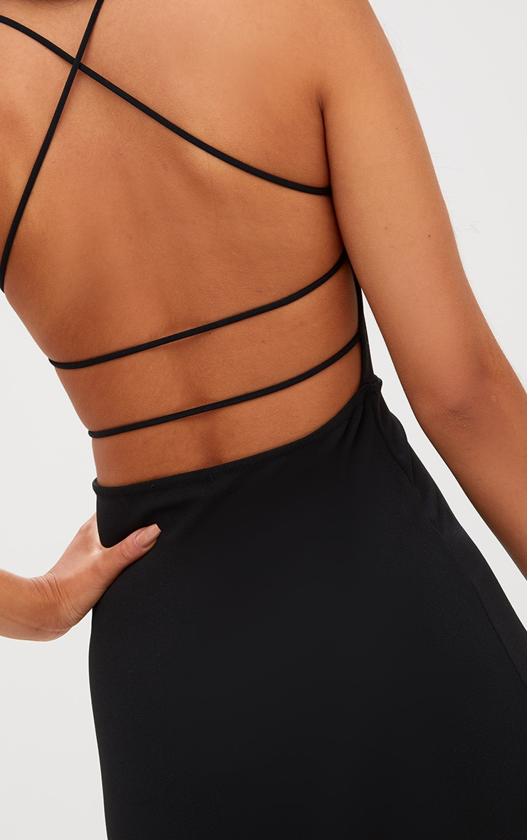 Black Lace Up Back Extreme High Neck Detail Bodycon Dress 5