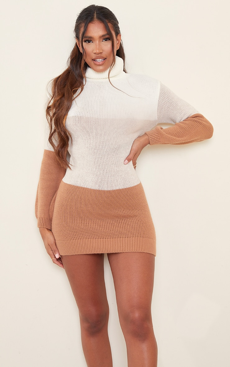 Oatmeal Colour Block Chunky Roll Neck Jumper Dress 3