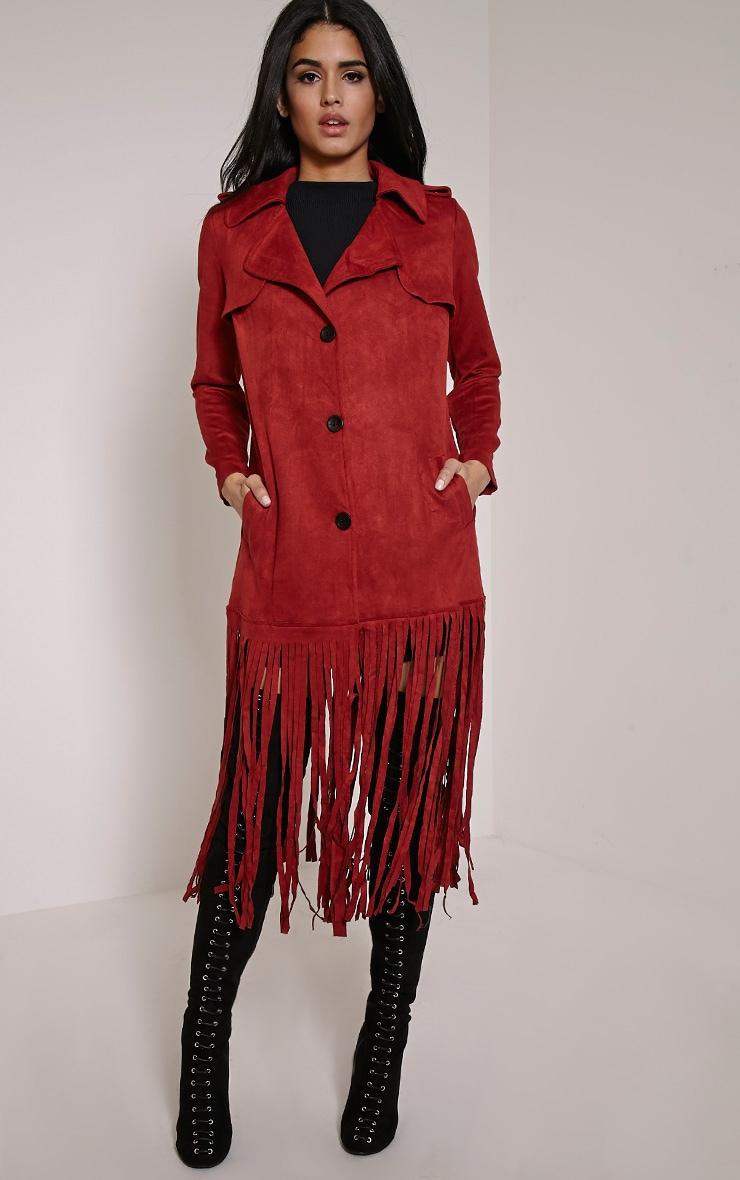 Jessica Rust Fringe Trim Trench Coat 3